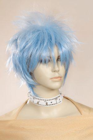 žydros spalvos, trumpai kirptas perukas